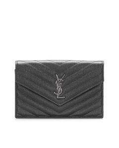 Ysl Chevron Monogram Leather Wallet On Chain Black