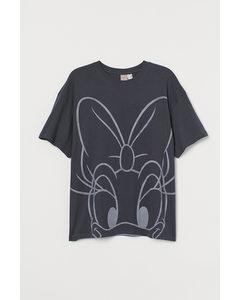 H&m+ Oversized T-shirt Donkergrijs/katrien Duck