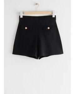 Gold Button Mini Shorts Black