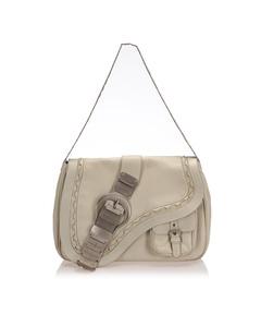 Dior Gaucho Saddle Leather Shoulder Bag White