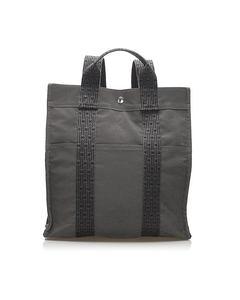 Hermes Herline Canvas Backpack Gray
