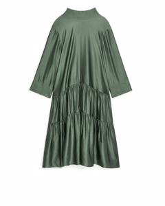 Shiny Flounce Dress Green