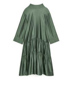 Lustrous Gathered Dress Khaki Green