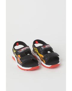 Sandalen mit Druck Schwarz/Hot Wheels