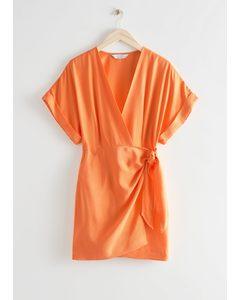 Relaxed Wrap Mini Dress Orange
