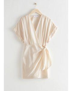 Relaxed Wrap Mini Dress Cream
