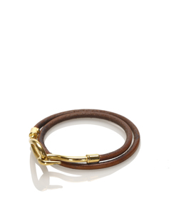 Hermes Jumbo Hook Leather Bracelet Brown