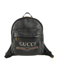 Gucci Logo Leather Leather Backpack Black
