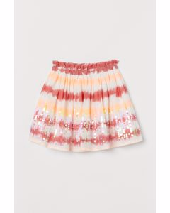 Bomullskjol Med Paljetter Röd/batikmönstrad