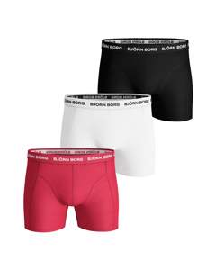 Björn Borg 3-pack Boxers Solids Rood/wit/zwart Multi