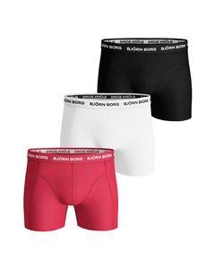 Björn Borg 3-pack Boxers Solids Rood/wit/zwart Flerfargad