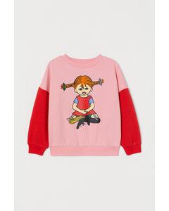 Sweater Met Print Lichtroze/pippi Langkous