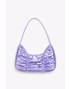 Ruched Shoulder Bag Metallic Purple
