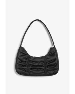 Ruched Shoulder Bag Black Satin