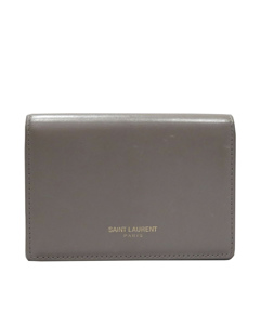 Ysl Leather Small Wallet Gray