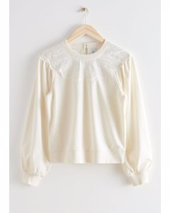 Embroidered Voluminous Sleeve Sweater White