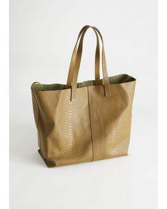 Snake Embossed Leather Tote Bag Brown