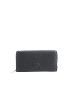 Ysl Leather Zip Around Long Wallet Black