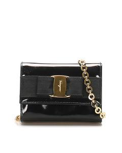 Ferragamo Vara Patent Leather Shoulder Bag Black