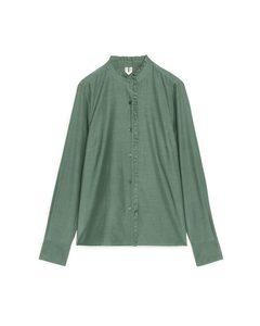 Cupro-blend Frill Blouse Green