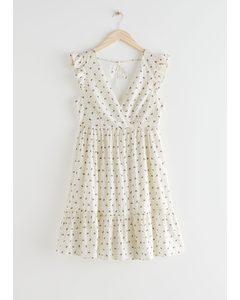 Ärmelloses Minikleid aus Baumwolle Weiß mit Blumenmuster