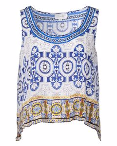 Sleeveless Blue And White Singlet