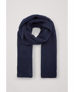 Chunky Knit Wool Scarf Navy