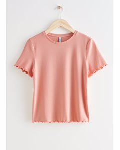 Geripptes T-Shirt mit gekräuseltem Rundhalsausschnitt Terrakotta