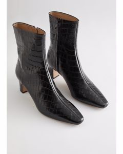 Croc Leather Heeled Ankle Boots Black