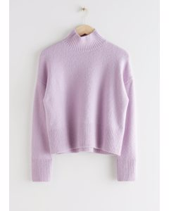 Cropped Mock Neck Sweater Lilac