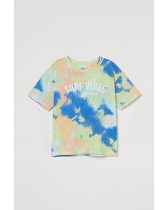T-Shirt mit Batikmuster Limegrün/Batikmuster