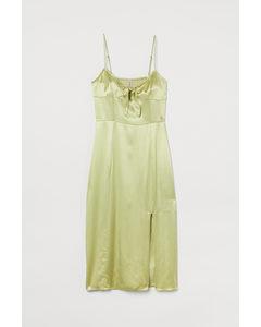 Slip-Dress aus Satin Helles Gelbgrün