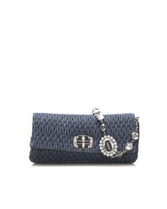 Miu Miu Mini Matelasse Leather Baguette Blue