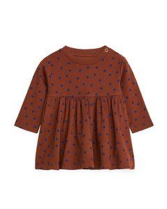 Jersey Dress Reddish Brown/dark Blue