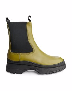 Chunky Leather Boots Khaki Green