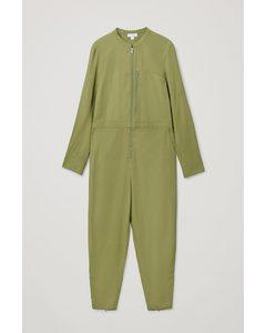 Collarless Long-sleeve Jumpsuit Khaki