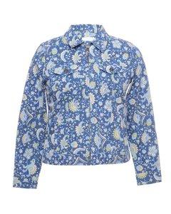 1990s Petites Floral Denim Jacket