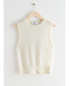 Alpaca Blend Knit Vest White