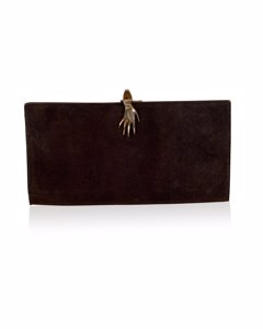 Gucci Vintage Brown Suede Long Wallet With Hand Closure