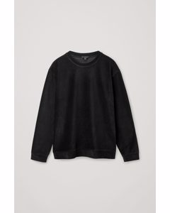 Relaxed Fit Corduroy Sweatshirt Black