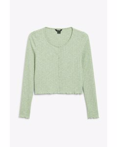 Button-up Ribbed Top Green