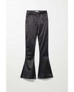 Aleccio Satin Flare Trouser Black