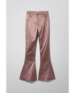 Aleccio Satin Flare Trouser Pink Rust