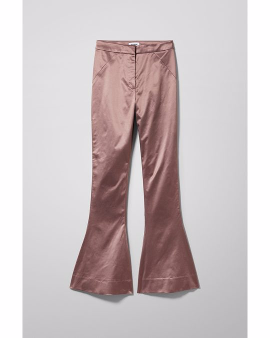 Weekday Aleccio Satin Flare Trouser Pink Rust