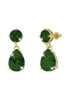 Vergoldete Ohrringe mit Smaragd-Zirkonia