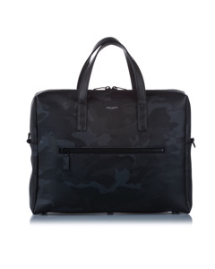 Ysl Camouflage Leather Business Bag Black
