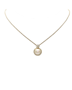 Dior Faux Pearl Pendant Necklace Gold
