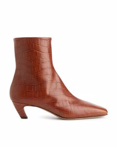 Mid-heel Leather Ankle Boots Brown