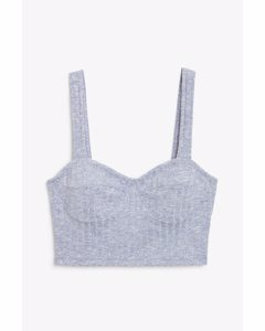 Thick Strap Crop Top Blue And White Melange