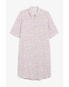3/4 Sleeve Shirt Dress Purple And White